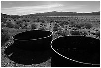 Metal tanks, Gold Coin Mine, Pleasant Valley. Joshua Tree National Park ( black and white)