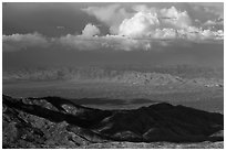 Desert mountains and afternoon clouds, Rincon Mountain District. Saguaro National Park ( black and white)
