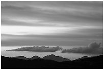 Mountains and clouds past sunset, Rincon Mountain District. Saguaro National Park ( black and white)