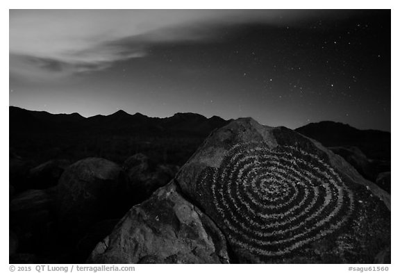 Petroglyphs on Signal Hill and Tucson Mountains at night. Saguaro National Park (black and white)