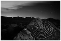 Petroglyphs on Signal Hill and Tucson Mountains at night. Saguaro National Park ( black and white)