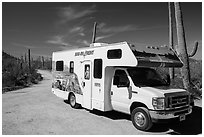 RV, Bajada Loop Drive. Saguaro National Park ( black and white)