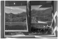 Tucson Mountains and cactus, Red Hills Visitor Center window reflexion. Saguaro National Park ( black and white)