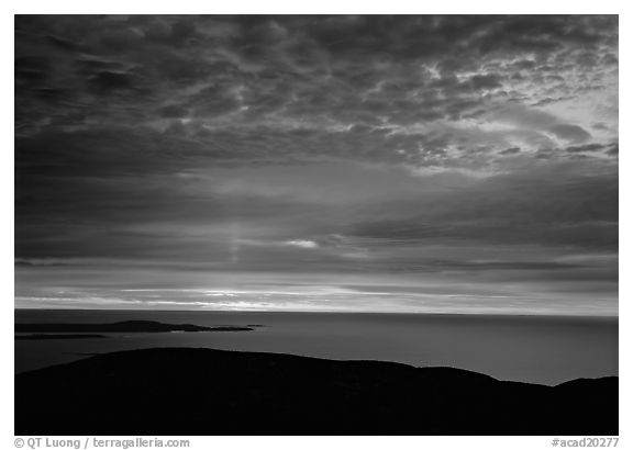 Clouds and Atlantic Ocean from Mt Cadillac at sunrise. Acadia National Park (black and white)