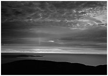 Clouds and Atlantic Ocean from Mt Cadillac at sunrise. Acadia National Park, Maine, USA. (black and white)