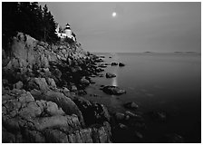 Bass Harbor Lighthouse, moon and reflection. Acadia National Park, Maine, USA. (black and white)