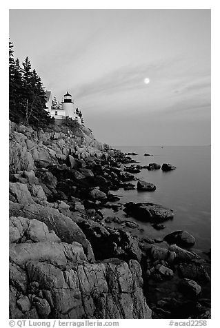 Bass Harbor lighthouse, sunset. Acadia National Park (black and white)