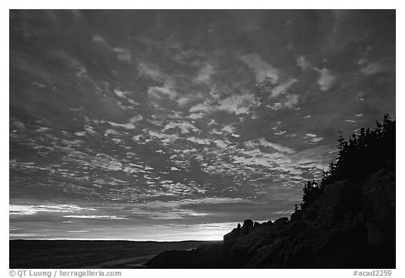Sunset sky, Bass Harbor lighthouse. Acadia National Park (black and white)