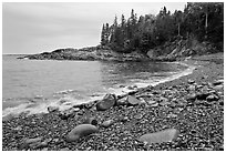 Hunters cove in rainy weather. Acadia National Park, Maine, USA. (black and white)