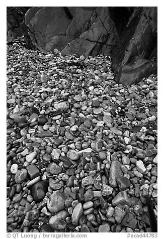 Pebbles and rock slabs. Acadia National Park (black and white)