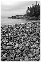Pebbles and cove, Hunters beach. Acadia National Park, Maine, USA. (black and white)