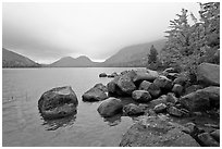 Boulders, autumn colors, and Bubbles, Jordan Pond. Acadia National Park ( black and white)