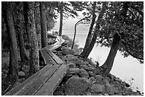 Boardwalk on shores of Jordan Pond. Acadia National Park, Maine, USA. (black and white)