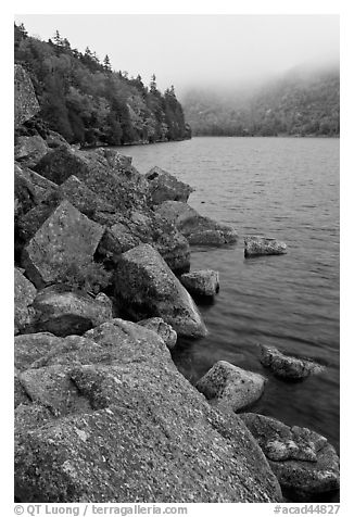 Rocky shore in autumn, Jordan Pond. Acadia National Park (black and white)