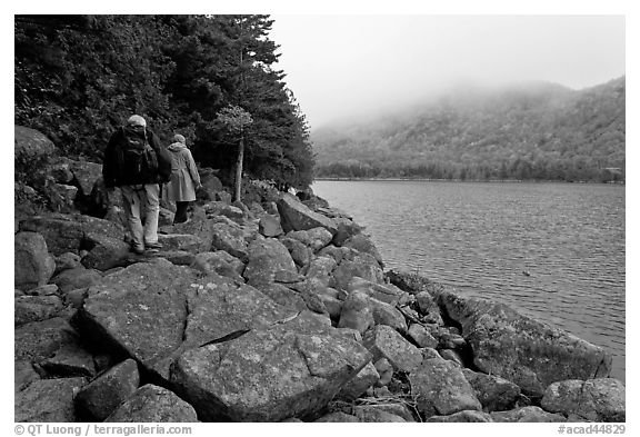 Hikers on shore of Jordan Pond. Acadia National Park (black and white)