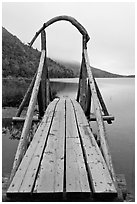 Footbridge and fog in autumn. Acadia National Park, Maine, USA. (black and white)