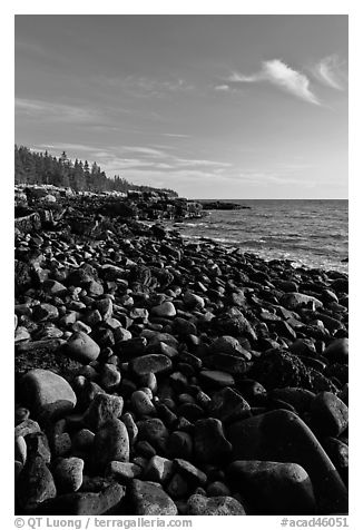 Round bouders, low tide coastline, Schoodic Peninsula. Acadia National Park (black and white)