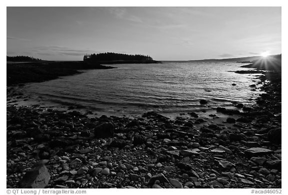 Cove and Pond Island, sunset, Schoodic Peninsula. Acadia National Park (black and white)