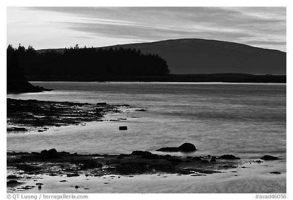 Pond and Cadillac Mountain at sunset, Schoodic Peninsula. Acadia National Park (black and white)