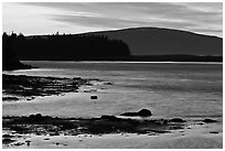 Pond and Cadillac Mountain at sunset, Schoodic Peninsula. Acadia National Park, Maine, USA. (black and white)