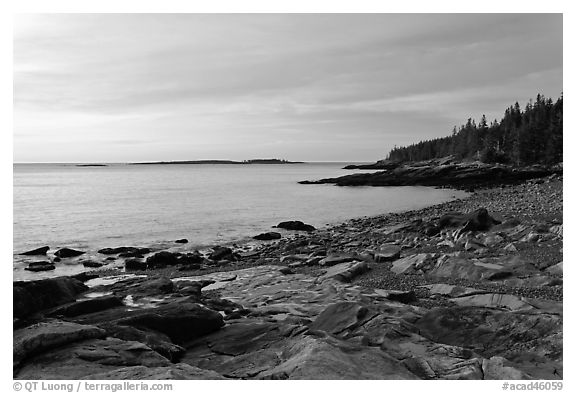 Coastine with slabs, sunrise, Schoodic Peninsula. Acadia National Park (black and white)