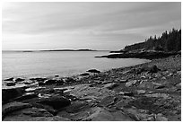 Coastine with slabs, sunrise, Schoodic Peninsula. Acadia National Park ( black and white)