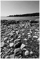 Streams flows into cove, Isle Au Haut. Acadia National Park, Maine, USA. (black and white)