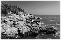 Rocky coast and blue waters, Isle Au Haut. Acadia National Park, Maine, USA. (black and white)