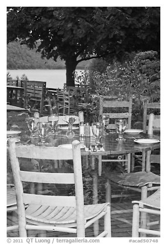 Chairs and reflections, Jordan Pond House window. Acadia National Park (black and white)