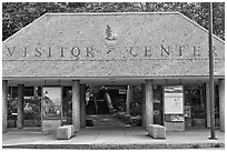 Visitor center entrance. Acadia National Park, Maine, USA. (black and white)