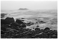 Boulders and ocean, foggy sunrise. Acadia National Park, Maine, USA. (black and white)