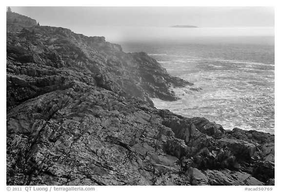 Coastline and offshore fog. Acadia National Park (black and white)