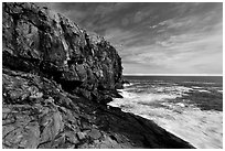 Great Head and ledge. Acadia National Park, Maine, USA. (black and white)