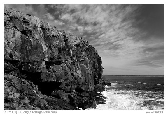 Tall granite headland. Acadia National Park (black and white)