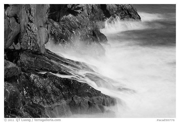 Fog-like water from long exposure at base of cliff. Acadia National Park (black and white)