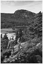 Hikers above Sand Beach. Acadia National Park, Maine, USA. (black and white)