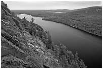 Echo Lake seen from Beech Cliff. Acadia National Park, Maine, USA. (black and white)