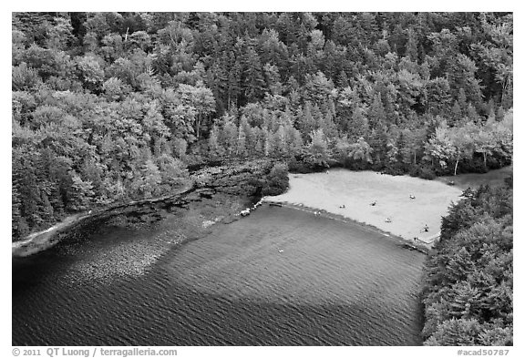 Beach on Echo Lake seen from above. Acadia National Park (black and white)