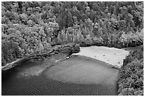 Beach on Echo Lake seen from above. Acadia National Park, Maine, USA. (black and white)