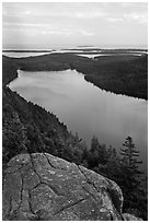 Jordan Pond and islands from Bubbles in summer. Acadia National Park, Maine, USA. (black and white)