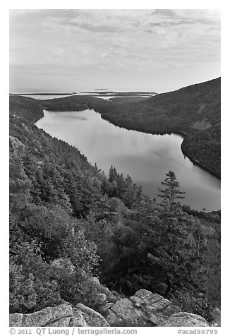 Jordan Pond and islands from Bubbles at sunset. Acadia National Park (black and white)