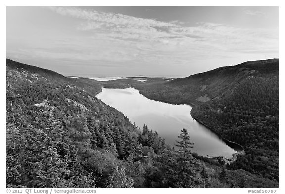 Hills, Jordan Pond, and sunset clouds. Acadia National Park (black and white)