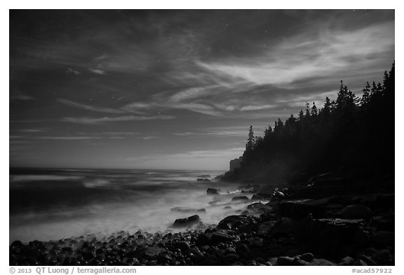 Coastline and Otter Cliffs at night. Acadia National Park (black and white)