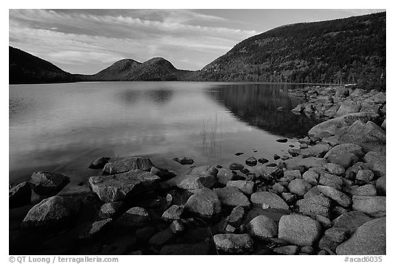 Rocks, Jordan Pond and the Bubbles. Acadia National Park (black and white)