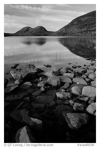 Jordan Pond and the hills named the Bubbles. Acadia National Park (black and white)