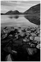 Jordan Pond and the hills named the Bubbles. Acadia National Park, Maine, USA. (black and white)