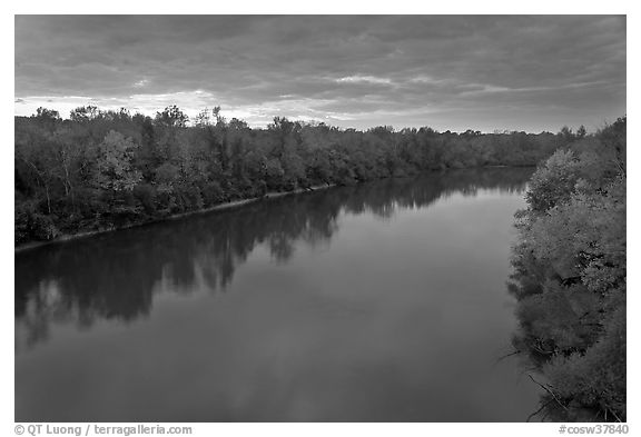 Congaree River under storm clouds at sunset. Congaree National Park (black and white)