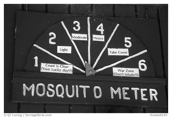 Mosquito Meter in old visitor center. Congaree National Park (black and white)