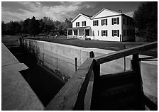 Lock and Canal visitor center. Cuyahoga Valley National Park, Ohio, USA. (black and white)