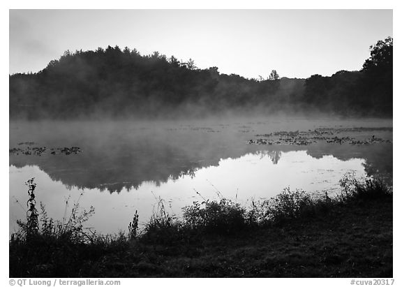 Mist raising from Kendall Lake at sunrise. Cuyahoga Valley National Park (black and white)